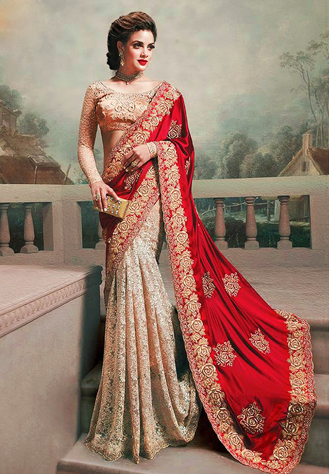 bddfabcc31 Red - Gold embroidered silk georgette- net saree with blouse - AURA D'ZIGNS  - 373002