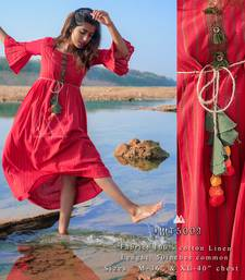Red Lining Long Linen Casual Dress With Hangings