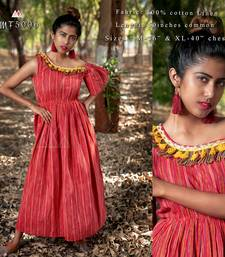 Red Lining Offshoulder Maxi Dress With Cotton Tazzel