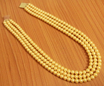 Yellow pearl necklaces