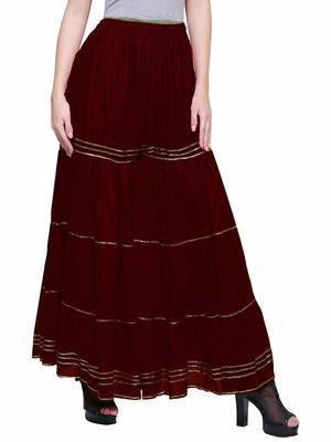 Color India Brown Cotton Palazzo For Girl's