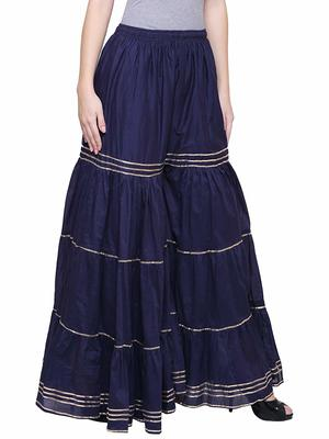 Color India Navy Cotton Palazzo For Girl's