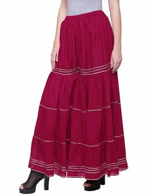 Color India Pink Cotton Palazzo For Girl's
