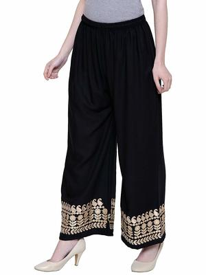 Color India Black Gotta Palazzo Pants For Girl's