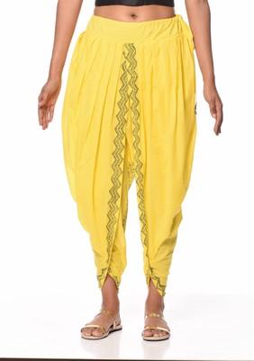 Yellow Cotton Printed Dhoti Salwar - KAANCHIE NANGGIA - 2822838