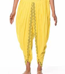 Yellow Cotton Printed Dhoti Salwar