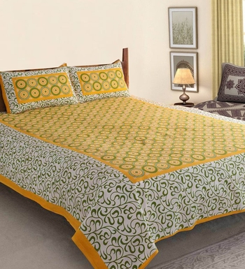 Rajasthani Bedsheets 100% Cotton Comfort Rajasthani Jaipuri Traditional Double Bedsheets with 2 Pillow Cover