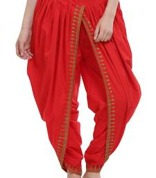Red Cotton Embroidery Dhoti Salwar