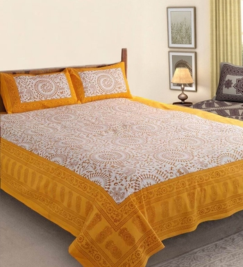 Kanha Bedsheet Rajasthani King Size Double Bedsheet With 2 Pillow Covers