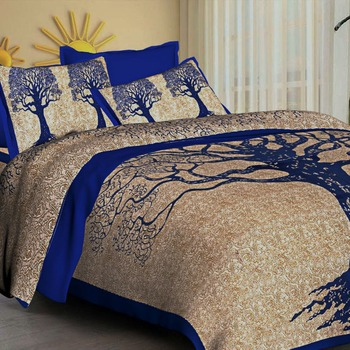 Kanha Bedsheet 100% Cotton Rajasthani Jaipuri Sanganeri Traditional King Size Double Bed Sheet with 2 Pillow Covers
