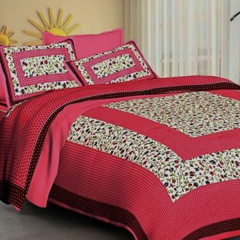 Sanganeri Printed Cotton Double Bedsheet with 2 Matching Pillow Cover