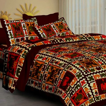 Bedsheet Rajasthani Bedsheets 100% Cotton Comfort Rajasthani Jaipuri Traditional Double Bedsheets with 2 Pillow Cover