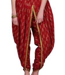 Maroon Cotton Printed Dhoti Salwar