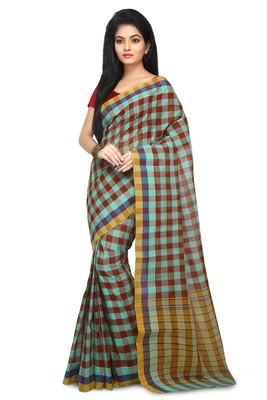 Multicolor hand woven cotton saree without blouse