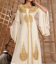 Cream Georgette Embroidered Zari Work Islamic Kaftan
