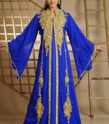 Royal Blue Georgette Embroidered Zari Work Islamic Kaftan
