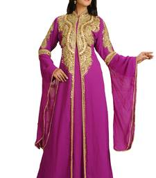 Magenta Georgette Embroidered Zari Work Islamic Kaftan