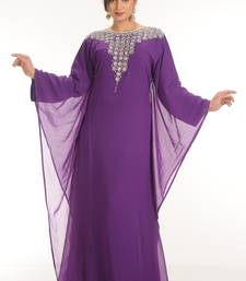 Purple  Georgette Embroidered Zari Work Farasha