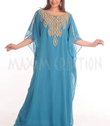 Light Blue Georgette Embroidered Zari Work Farasha