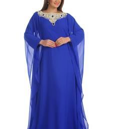 Royal Blue Georgette Embroidered Zari Work Farasha