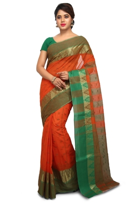 Orange plain cotton saree without blouse