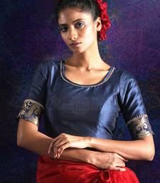 NAVY BLUE DUPION AND BROCADE BLOUSE WITH ZARI