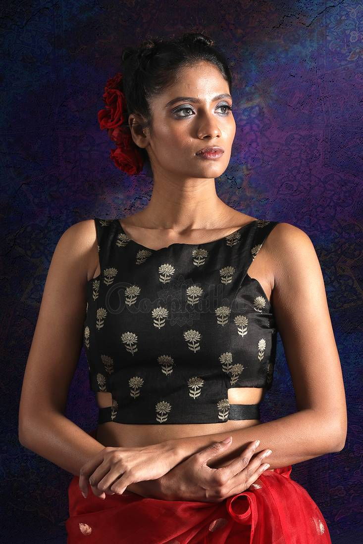 b550b955cc1434 BLACK SILK BROCADE BLOUSE WITH BACK-TIE - ROOPKATHA - 2823205