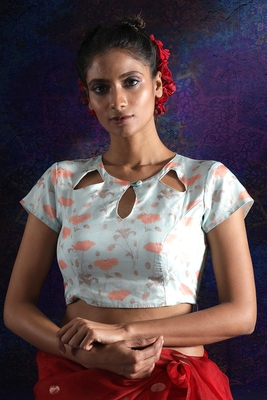ICE BLUE ORGANZA BLOUSE WITH EMBELLISHMENT