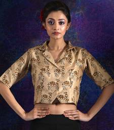 BEIGE CAMEL PRINTED SILK BLOUSE WITH COLLAR
