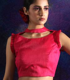 PINK SLEEVELESS DUPION BLOUSE WITH FRILLS