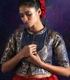NAVY BLUE BROCADE AND DUPION BLOUSE WITH ZARI