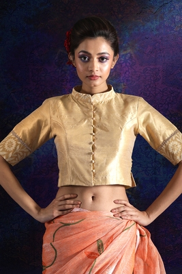 GOLD DUPION AND BROCADE BLOUSE WITH COLLAR