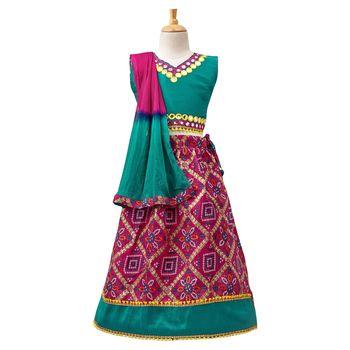Pink Printed Dupion Silk Stitched Lehenga