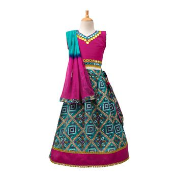 Green Printed Dupion Silk Stitched Lehenga