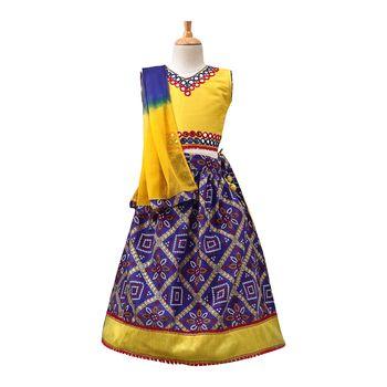 Blue printed dupion silk stitched lehenga