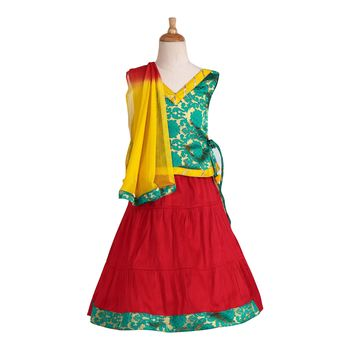 Red Woven Cotton Stitched Lehenga