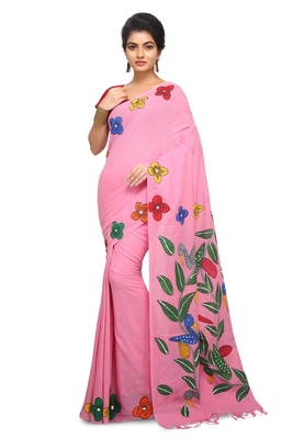 Pink hand woven cotton saree without blouse