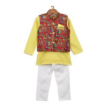 Yellow Printed Cotton Poly Boys Kurta Pyjama