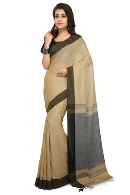White plain cotton silk saree without blouse