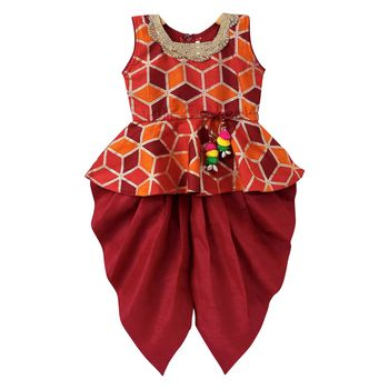 Maroon woven art silk top with dhoti for girls