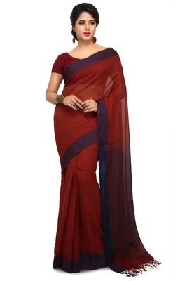 Brown plain cotton silk saree without blouse