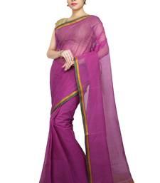 Magenta plain cotton saree without blouse