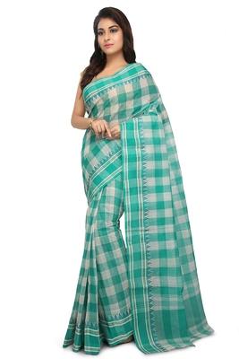 Green plain cotton saree without blouse