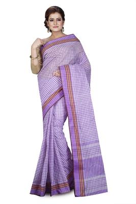 Purple plain cotton saree without blouse