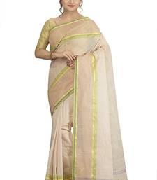 Buy White plain cotton saree without blouse