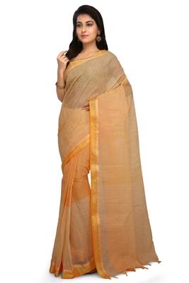 Orange plain cotton saree without blouse