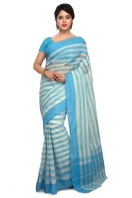 Blue plain cotton saree without blouse