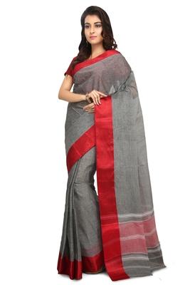 Black plain cotton saree without blouse
