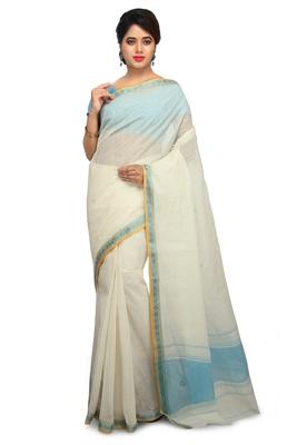 White plain cotton saree without blouse