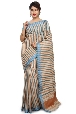 Multicolor plain cotton saree without blouse